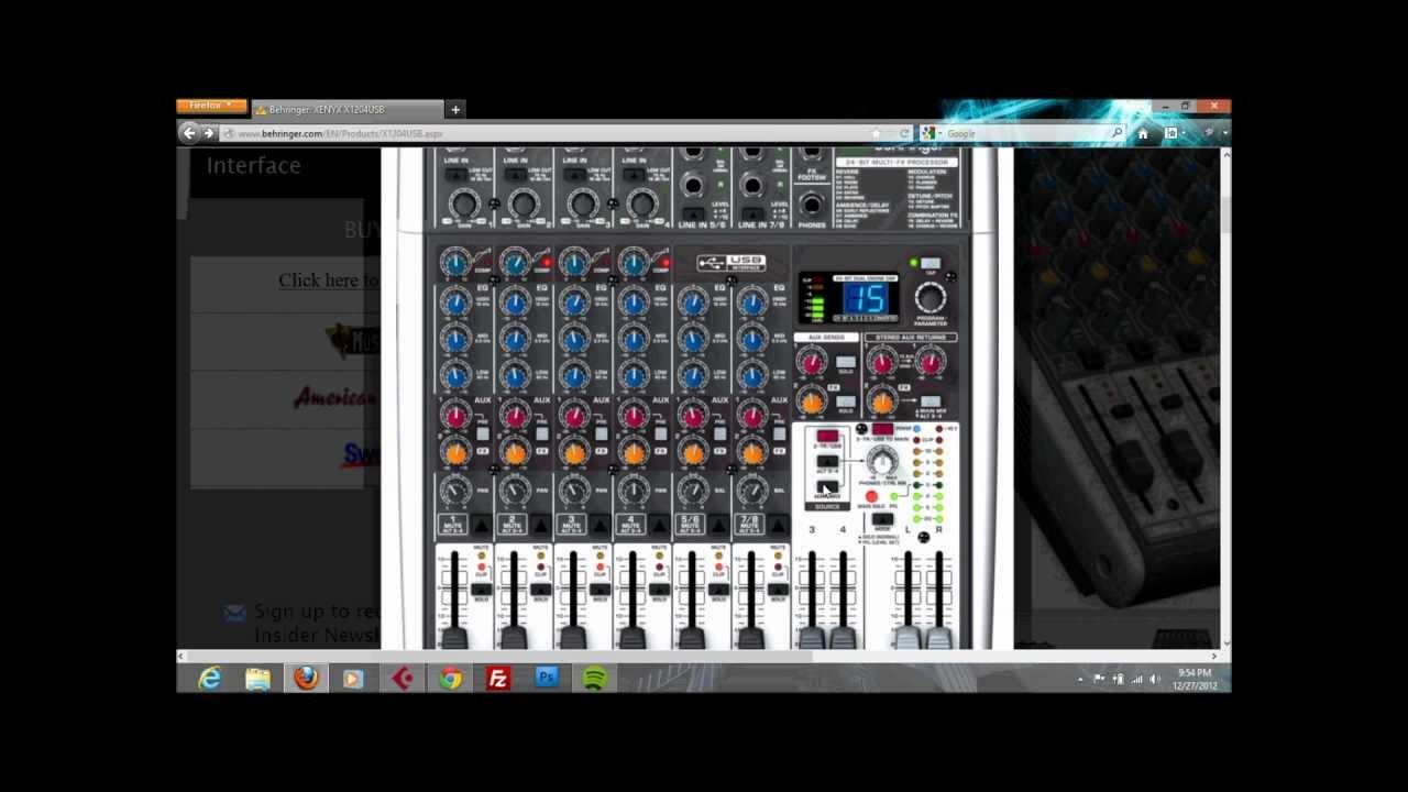 Recording using Behringer Xenyx X1204USB on Cubase  YouTube