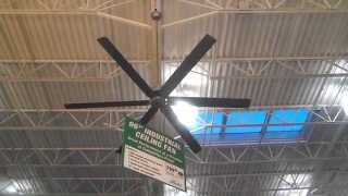 "Hunter 96"" Satin Metal Industrial Ceiling Fan at Menards - off, low, medium, high, spin down"
