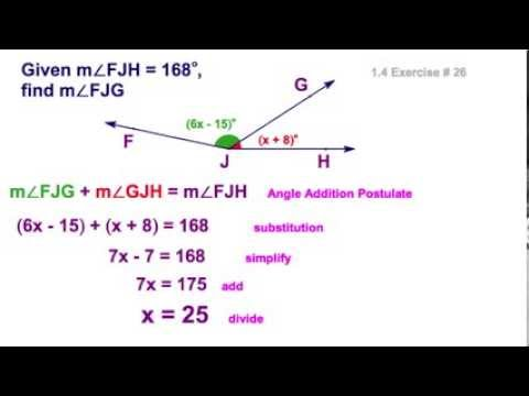 1.4 Angle Addition Postulate With Algebra