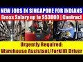Jobs in Singapore: Warehouse Assistants / Forklift Drivers | Good Monthly Salary.
