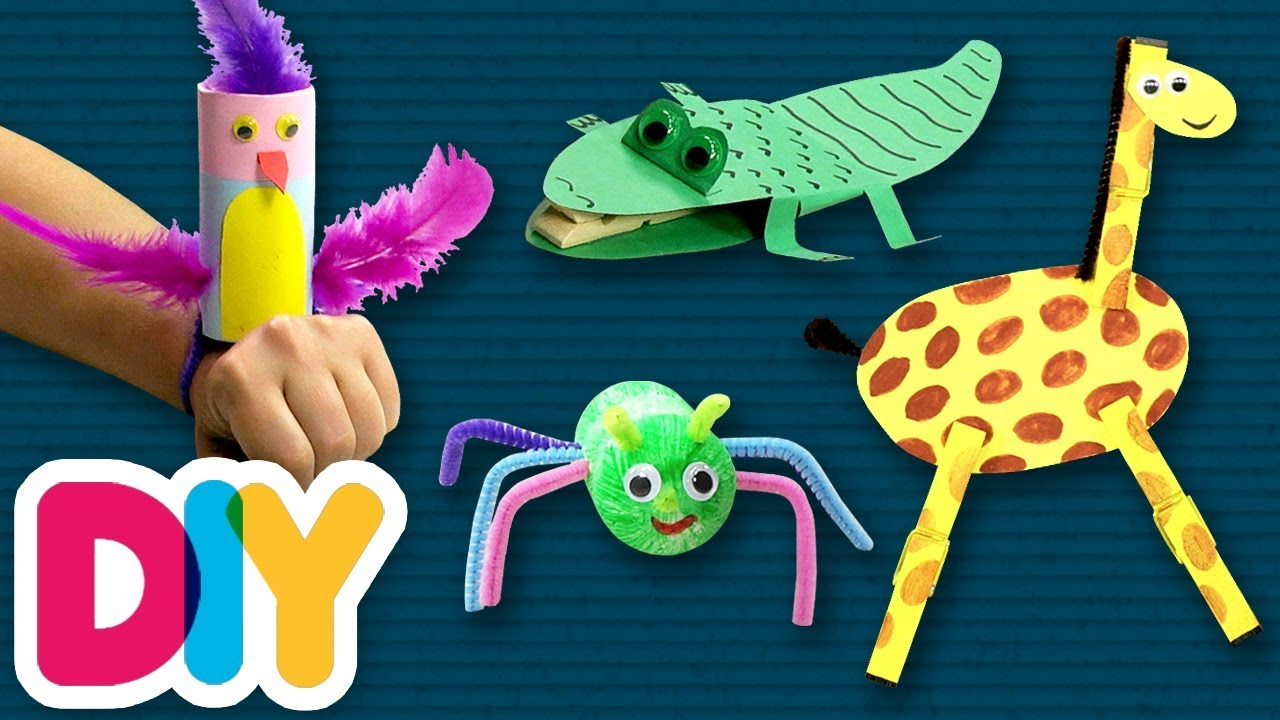 4 Easy JUNGLE ANIMALS Crafts you can do anytime | Fast-n ...