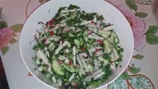 Салат из редиски и огурца!