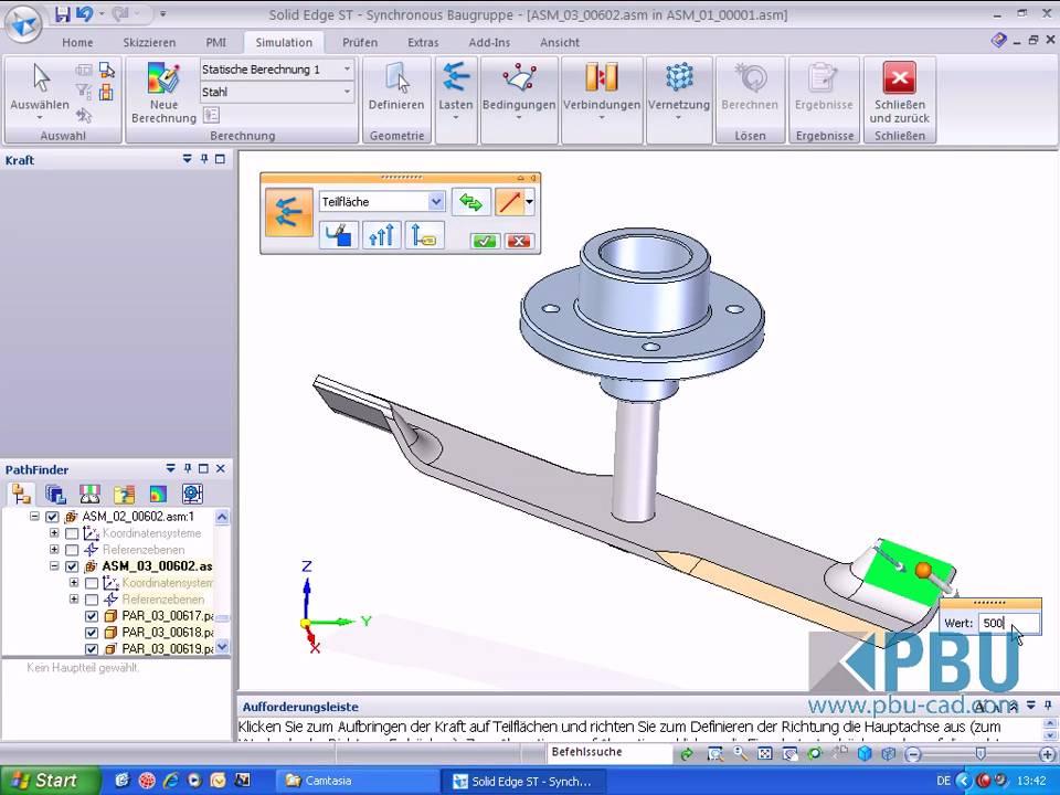 Solid Edge Simulation ST2 Kräfte an der Baugruppe.avi - YouTube