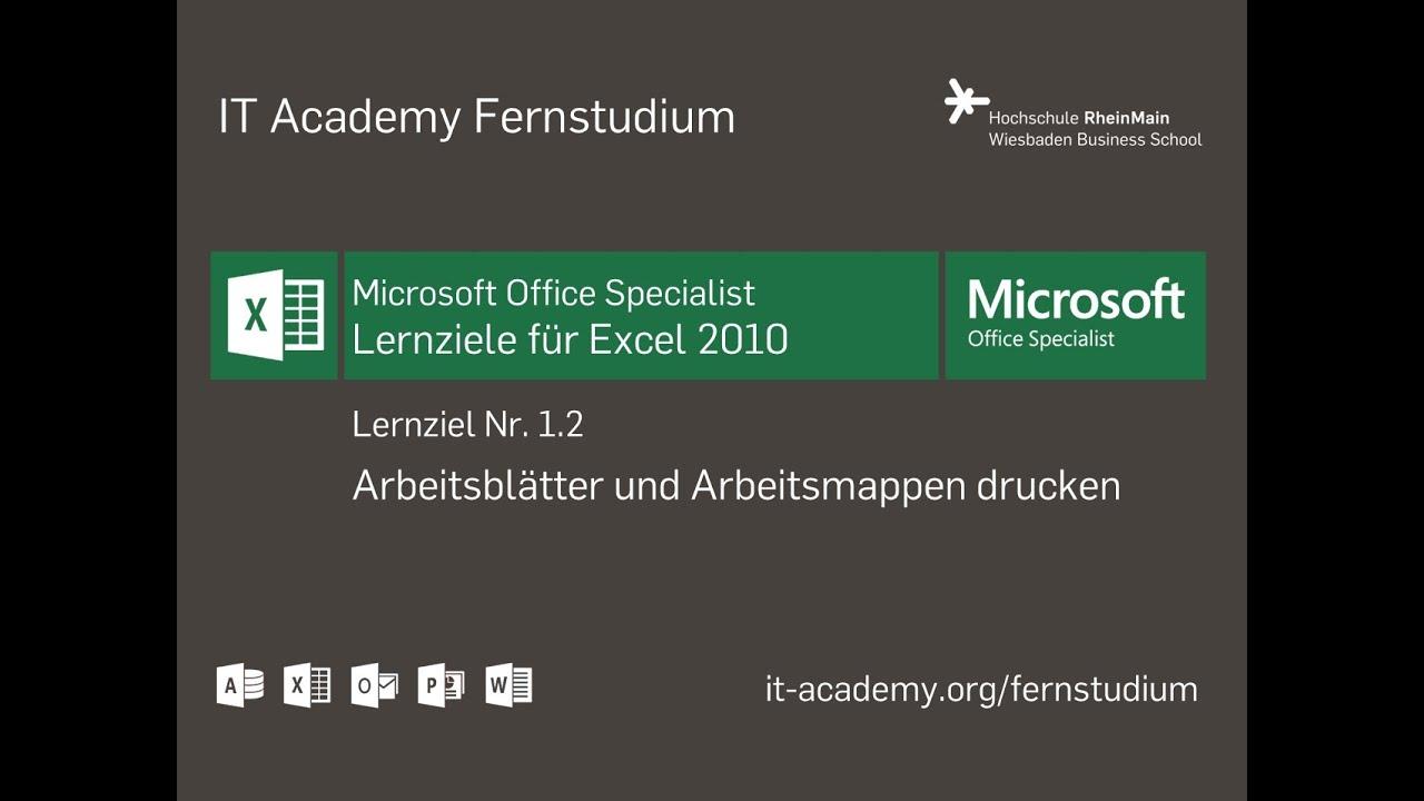 Excel 2010 - Drucken von Arbeitsblättern und Arbeitsmappen (Lernziel ...