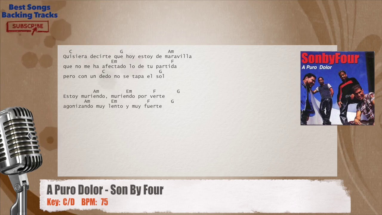 A Puro Dolor - Son By Four Vocal Backing Track with chords and lyrics