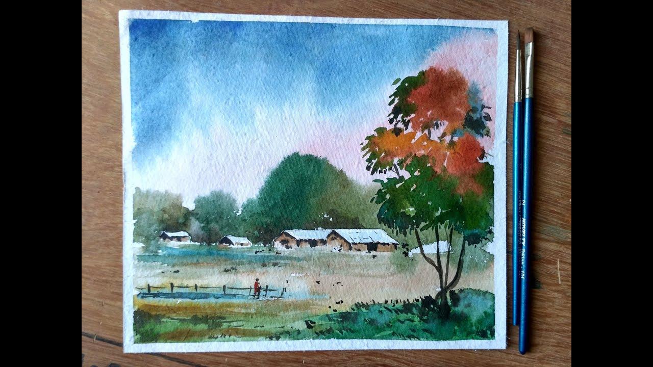 Landscape painting tutorial watercolor painting for for Video tutorial on watercolor painting
