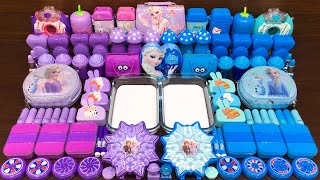 FROZEN PURPLE vs BLUE ! Mixing Random into GLOSSY Slime ! Satisfying Slime Video #531