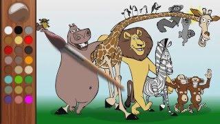Divertiamoci con clown Alex a colorare il Madagascar, giraffa, scimmie, ippopotamo, zebra, leone