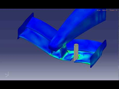 Stress results from a CZone analysis of a F1 front wing hitting a pole