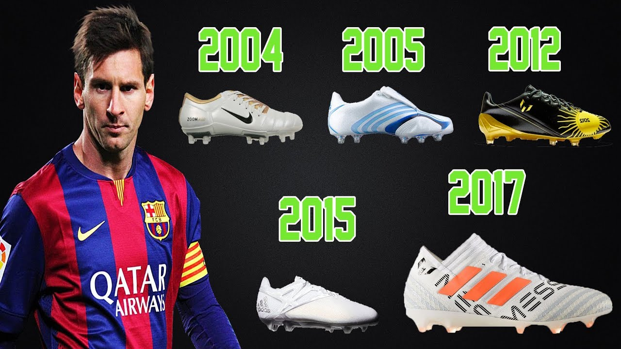 Lionel Messi boots/cleats from 2004 to