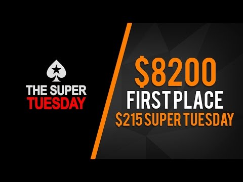 $8,200 1st place prize in $215 Super Tuesday!! Part 1