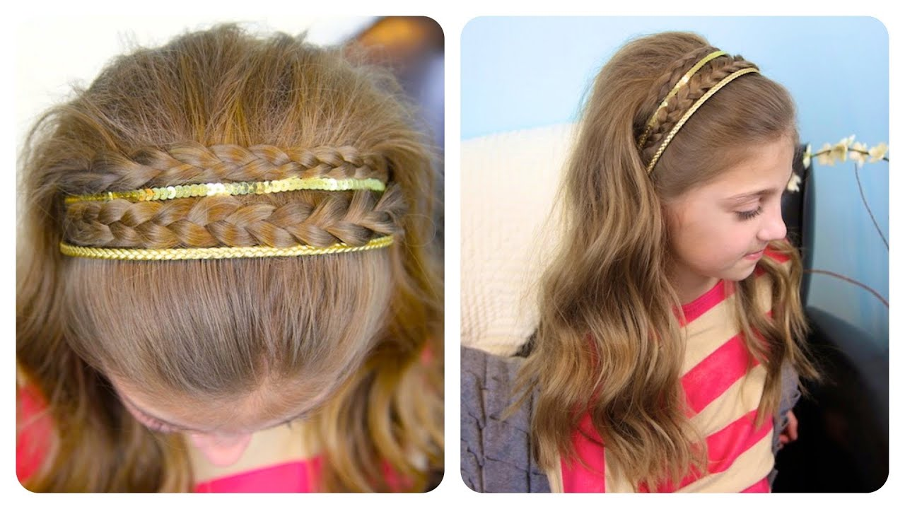 Cute Hair Styles With Braids: Double Braid Sparkly Headband