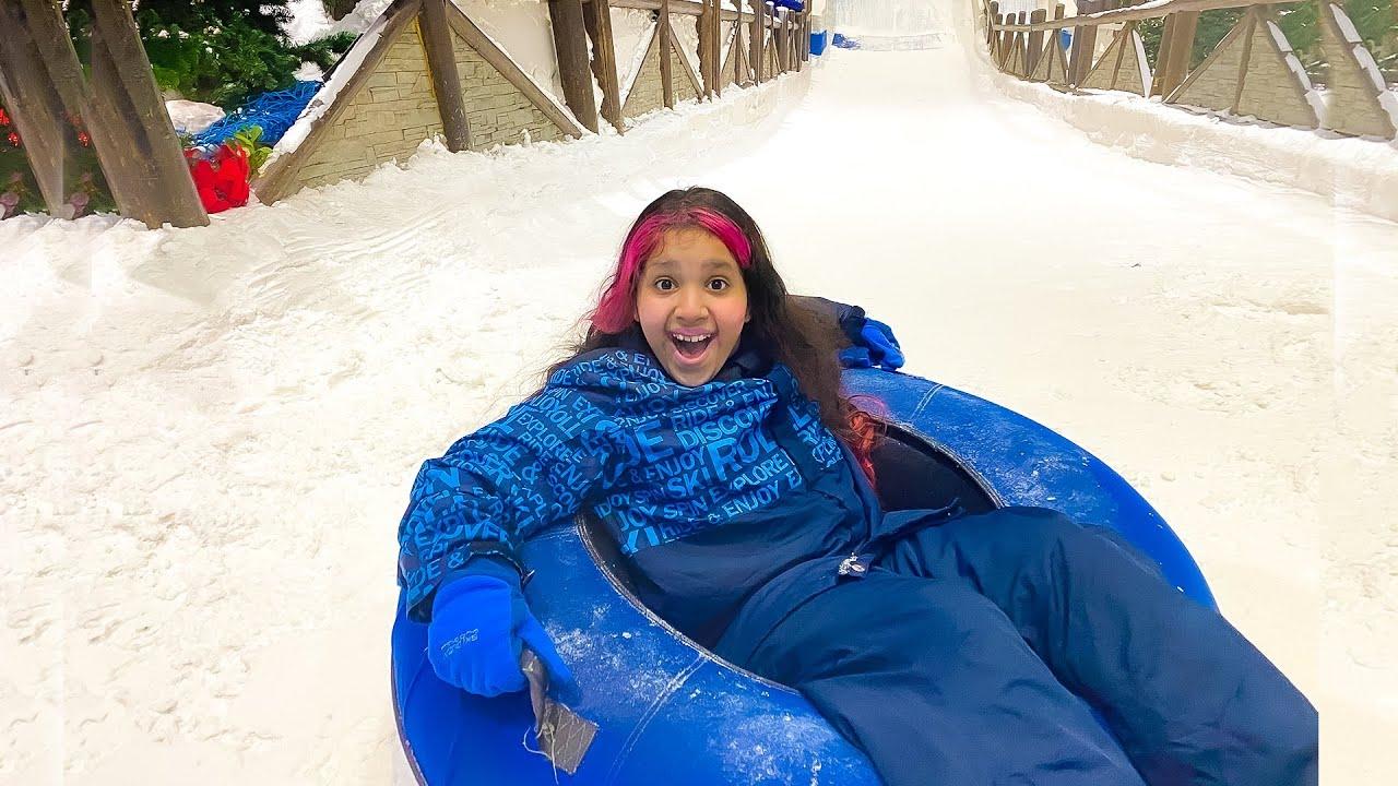شفا أول مرة تشوف الثلج !!! snow park fun day