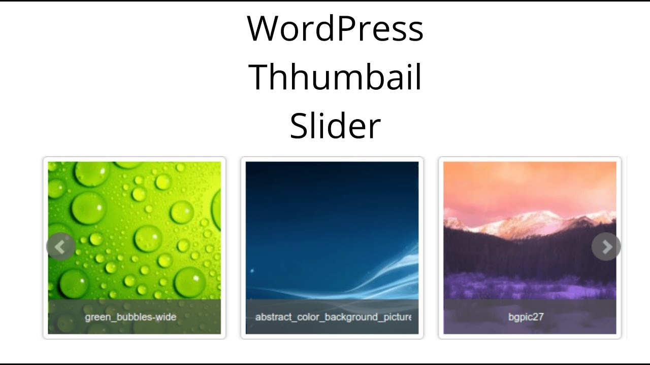 wordpress responsive thumbnail carousel slider – WordPress