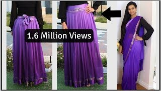 DIY | Convert Saree into Skirt | Convert Saree into Dress