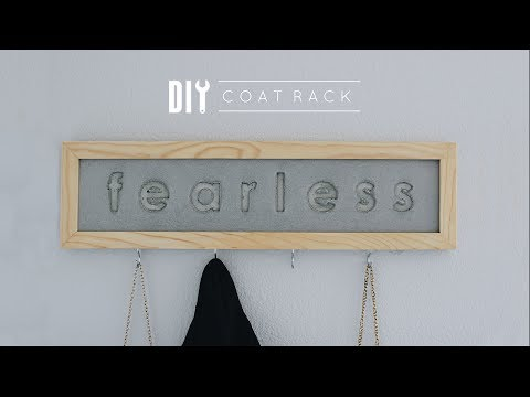DIY Simple Wall-Mounted Coat Rack | Wood + Concrete