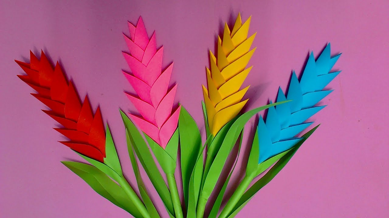 How to make heliconia flower with color paper diy pap for Diy colored paper