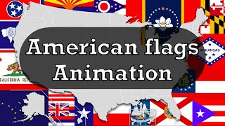 U.S. States And Territories Flags Animation