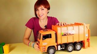 Мусоровоз. Видео для детей. Большая Машина Bruder Gulliver Toys. Игрушки для детей(Хочешь узнать, как работает мусоровоз? Сегодня мы с Машей поедем в город, чтобы собрать мусор из контейнеров..., 2015-03-10T02:51:42.000Z)