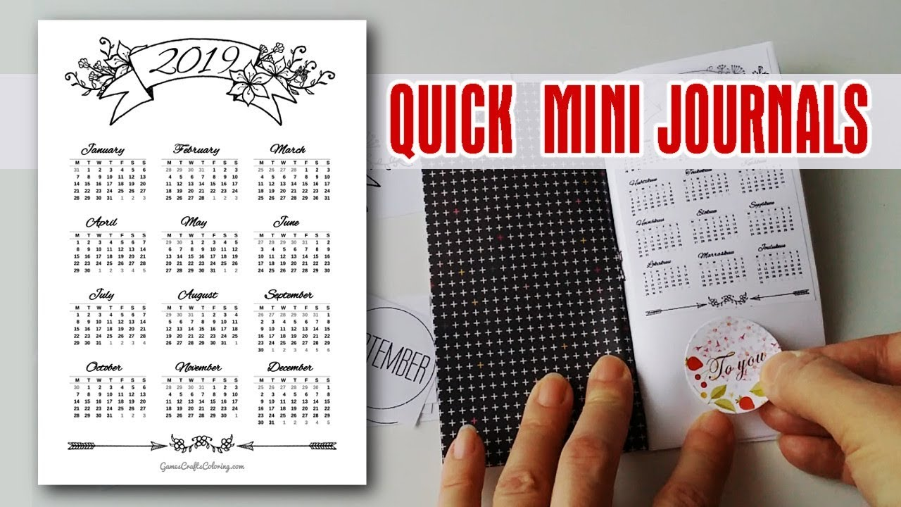 diy quick mini journals  u0026 printable calendar 2019