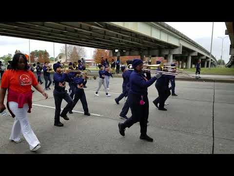 Schaumburg band (under the bridge) Marching in New Orleans East parade 2018