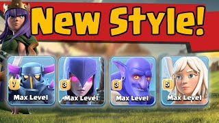 Healer + Max Pekka7+Witch+Bowler=Queen Walk Max Pekka BoWitch New Style Push Army  Destroy TH11  Max