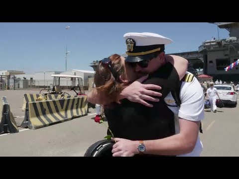 Hugs After 7 Months At Sea - USS Theodore Roosevelt Homecoming