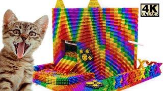 DIY Kitten Cat Food Dispenser From Magnetic Balls (ASMR Satisfying) | Magnet World Series #220