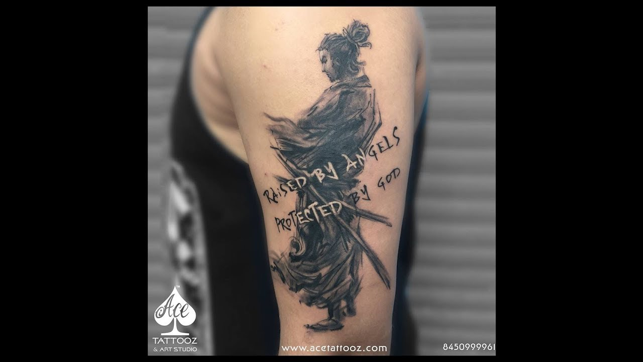 Samurai Tattoo Miyamoto Musashi Black And Grey Tattoo Ace