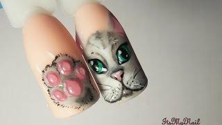 🐱Дизайн ногтей гель лаком🐱Рисуем Кота на ногтях🐱Лапки Царапки🐱Nail Design Shellac🐱