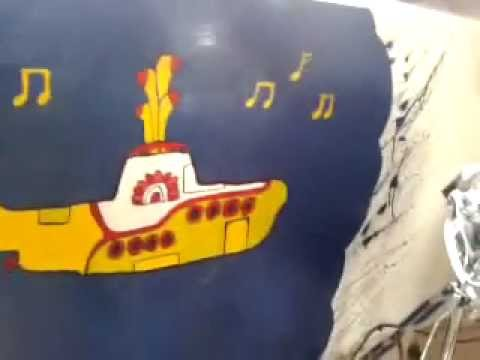 my wall painting (gunsnroses,yellowsubmarine,rollingstones.)