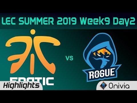 FNC vs RGE Highlights LEC Summer 2019 W9D2 Fnatic vs Rogue LEC Highlights By Onivia