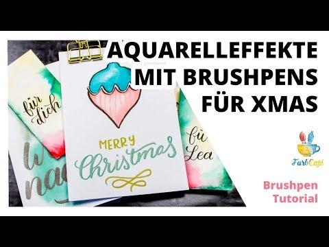 Weihnachtliche 🎄 Karten Im Aquarell-Look Mit Brushpens #DIY #Tutorial | FarbCafé