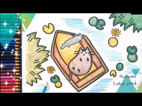 Cute Drawing : HOW TO DRAW PUSHEEN THE CAT cartoon , cute Lotus Flower Pusheen coloring for kids