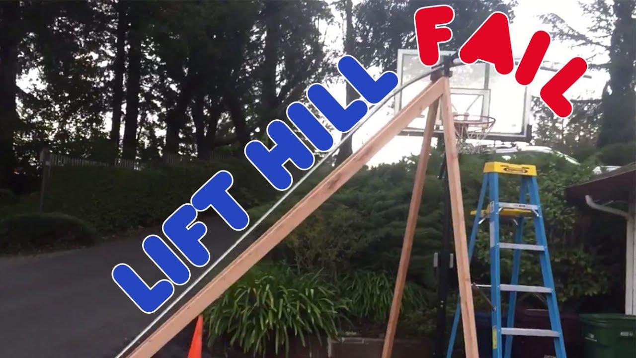 backyard roller coaster hill fail new rails youtube