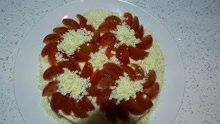 Слоеный салат с курицей и шампиньонами.Обалденно Вкусно!!!