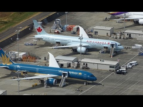 Helicopter Ride Over Boeing Flightline of 787, 767, 777 & 747-8 Aircraft @ KPAE Paine Field