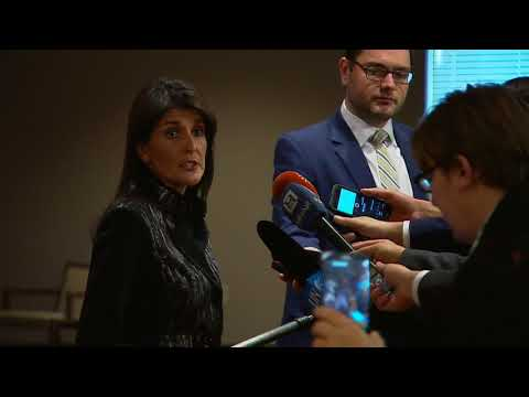 Nikki R. Haley (USA) on the situation in the Middle East - Media Stakeout  (16 November 2017)