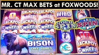 MAX BETTING at FOXWOODS! AMERICAN BISON SLOT MACHINE, NOT IN KANSAS, WHEEL OF FORTUNE!