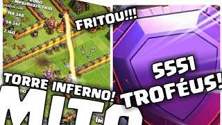 TORRE INFERNO MITO NA LENDÁRIA! FRITOU RAINHA LVL 50 E SUBI TROFÉUS! | Clash Of Clans