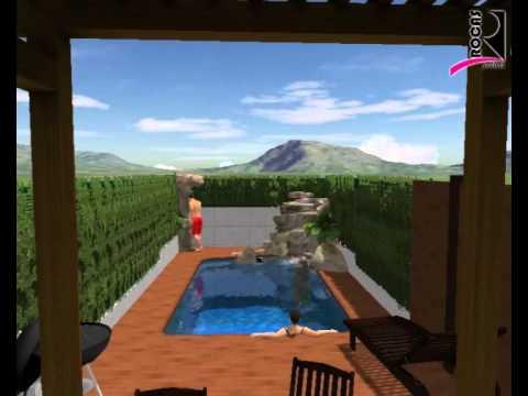3d dise o piscina con cascada youtube for Piscina 3d
