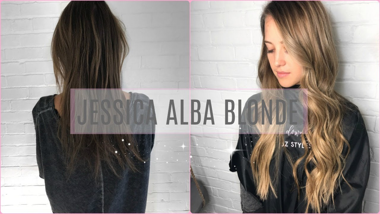 Jessica Alba Blonde Mixing Highlights And Balayage Youtube
