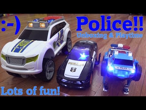 Battery Operated Toy Cars For Kids: RC Police Car, Bump & Go and Push Along Vehicles Unboxing