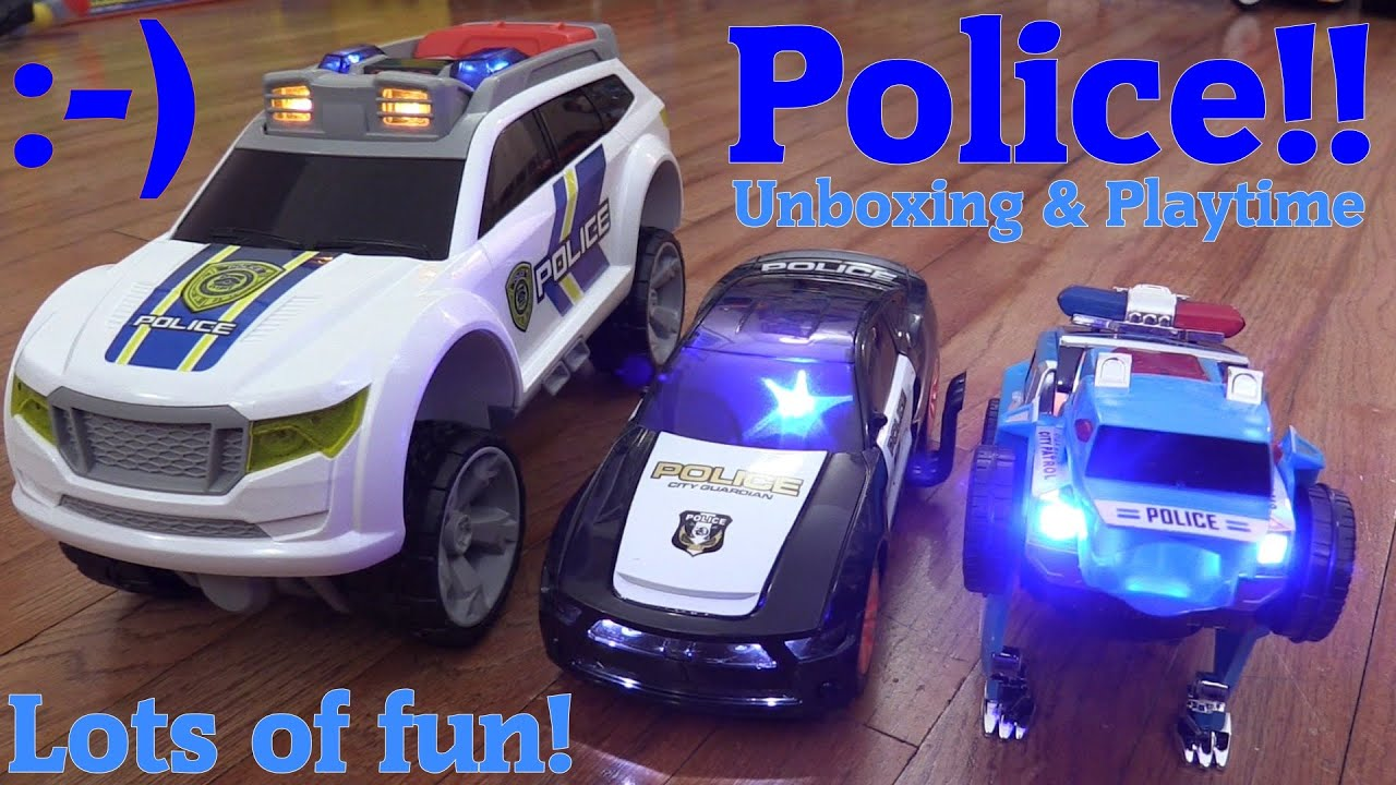battery operated toy cars for kids rc police car bump go and push along vehicles unboxing youtube