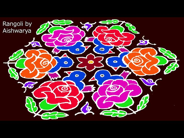 Beautiful Rose Flowers Rangoli Designs for Sankranti With 21 to 11 | Big Rangoli Kolangal