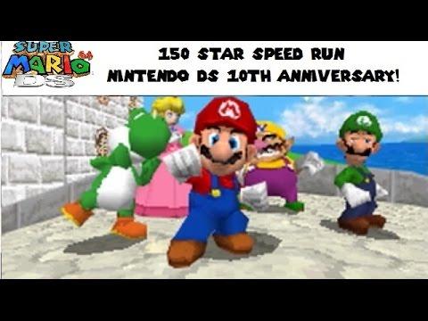 Super Mario 64 DS: 150 star speed run attempt (Nintendo DS 10 year special)