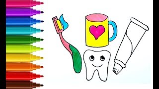 [ENTI] How to draw and color Toothbrush and Toothpaste for Baby | draw with ENTI