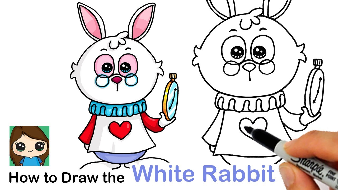 How to Draw the White Rabbit 🐰 Alice In Wonderland