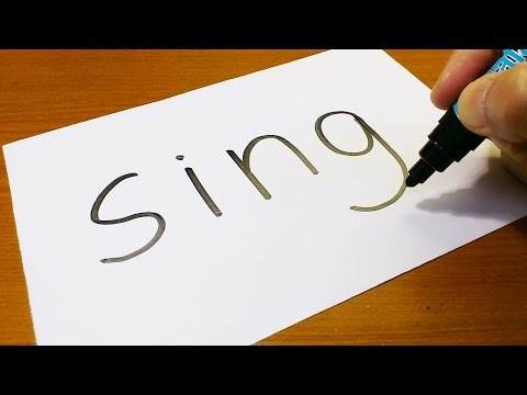 Very Easy ! How to turn words SING into a Cartoon - art on paper for kids