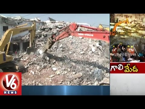 Under Construction Building Collapse In Nanakramguda | Hyderabad | Update | V6 News